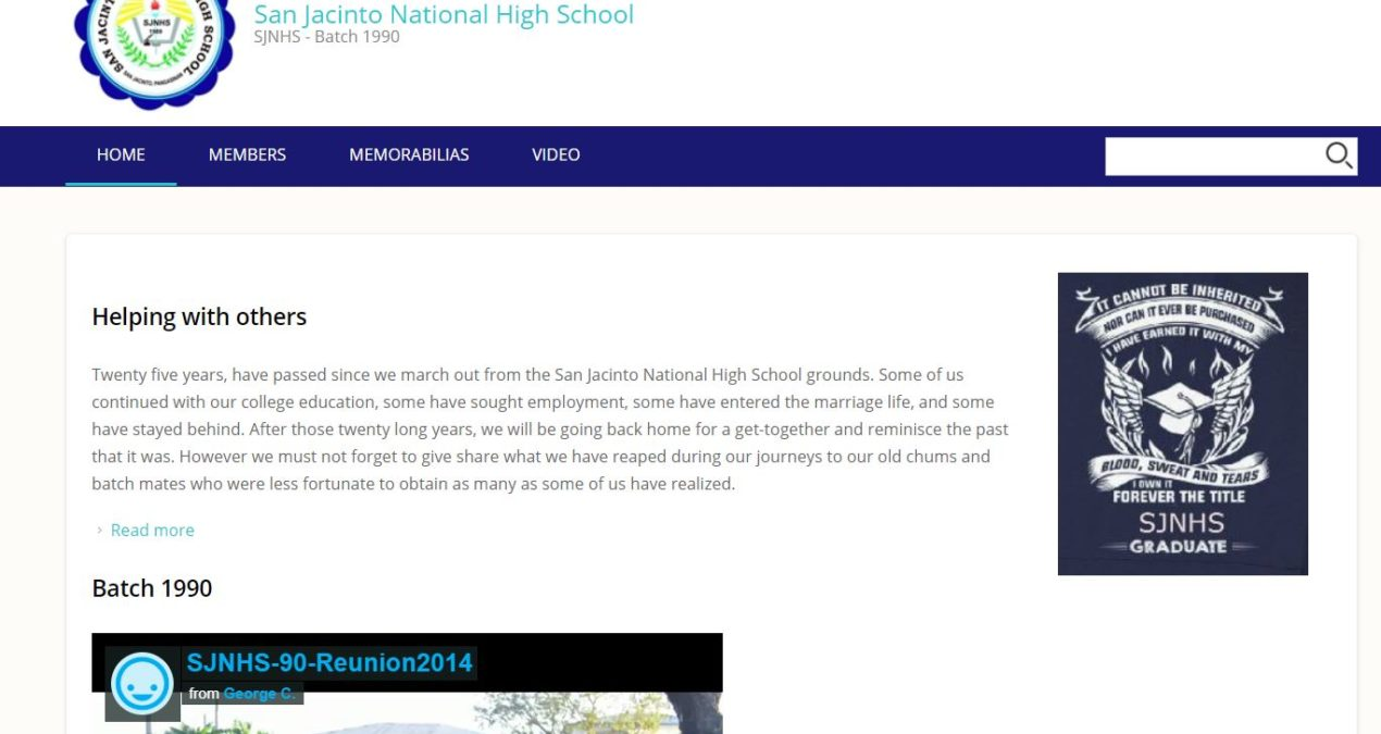 San Jacinto National High School SJNHS – Batch 1990